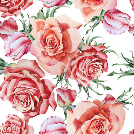 Bright seamless pattern with flowers. Rose Watercolor illustration. Hand drawn. 写真素材