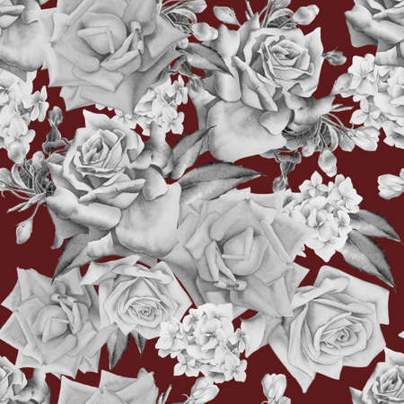 Monochrome seamless pattern with flowers. Rose. Watercolor illustration.Hand drawn.