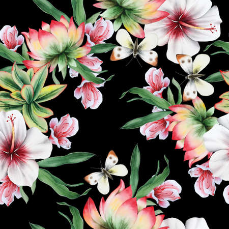 Bright seamless pattern with flowers. Hibiscus. Lotus. Butterfly. Watercolor illustration. Hand drawn.