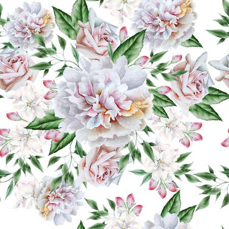 Bright seamless pattern with flowers. Rose Watercolor illustration. Hand drawn. 版權商用圖片