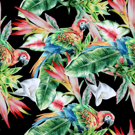 Bright tropical seamless pattern with parrots and flowers. Hibiscus. Palm. Calla. Watercolor illustration. Hand drawn.