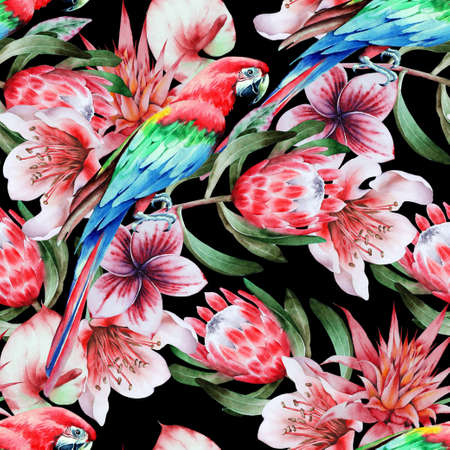 Bright tropical seamless pattern with parrots and flowers. Watercolor illustration. Hand drawn.