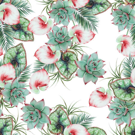Beautiful watercolor seamless pattern with tropical leaves. Hand drawn. 版權商用圖片