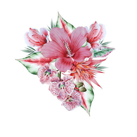 Watercolor bouquet with tropical flowers. Hibiscus. Orchid. Hand drawn.