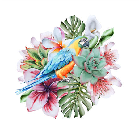 Watercolor bouquet with tropical flowers and parrot. Hand drawn.