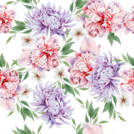 Bright seamless pattern with flowers. Peony. Watercolor illustration. Hand drawn.