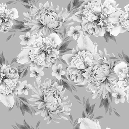 Seamless pattern with flowers. Peony. Watercolor illustration. Hand drawn.