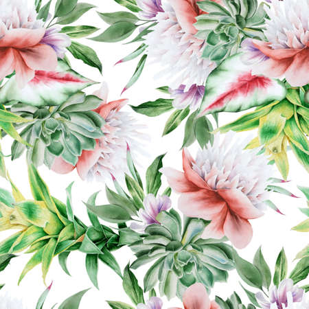 Beautiful watercolor seamless pattern with flowers. Hand drawn. 写真素材
