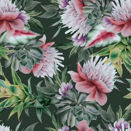 Beautiful watercolor seamless pattern with flowers. Hand drawn. 版權商用圖片