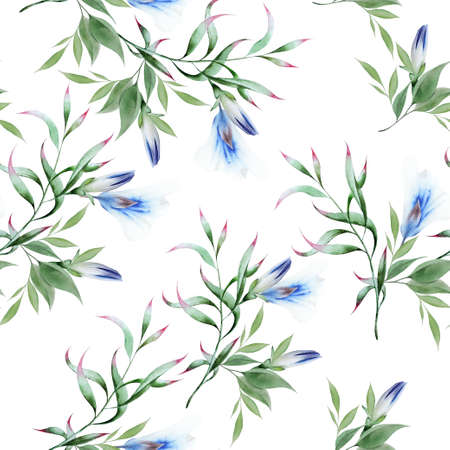Beautiful watercolor seamless pattern with flowers. Hand drawn. 版權商用圖片