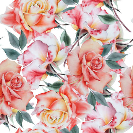 Bright seamless pattern with flowers. Rose. Watercolor illustration. Hand drawn. 版權商用圖片