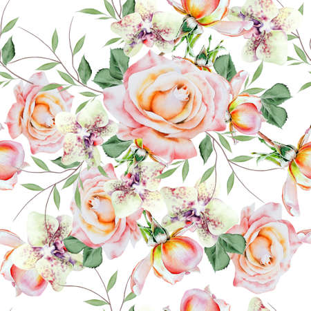 Bright seamless pattern with flowers. Rose. Orchid. Watercolor illustration. Hand drawn.