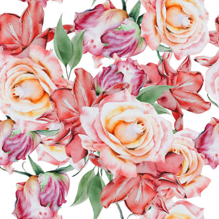Bright seamless pattern with flowers. Rose Watercolor illustration. Hand drawn. 写真素材 - 165884852