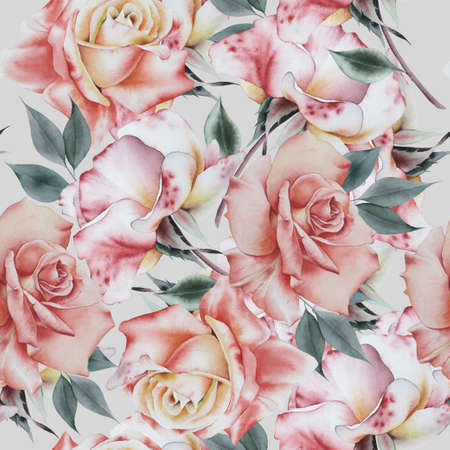 Bright seamless pattern with flowers. Rose Watercolor illustration. Hand drawn. 版權商用圖片