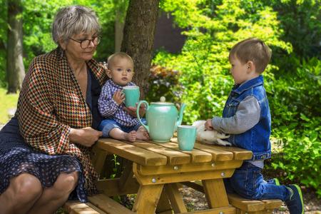 babysit: Grandmother having tea with her grandchildren