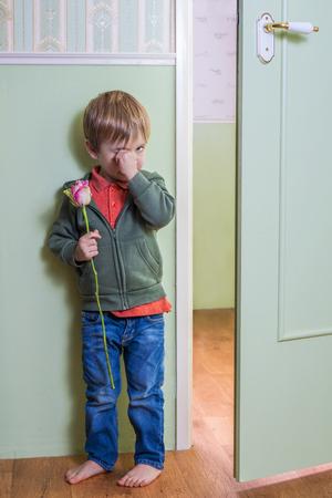 avergonzado: Adorable niño la celebración de una rosa Foto de archivo