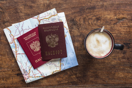top view of russian passports and coffee Stock Photo