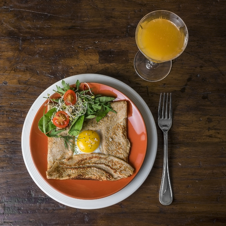 Fried egg in a crepe