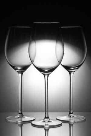 three glasses on glass plate Stock Photo