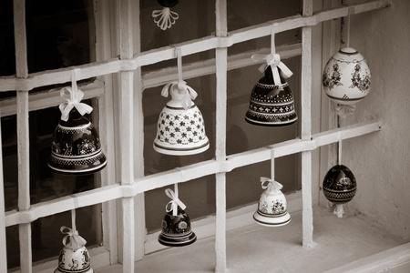 porcelain decoration in lattice window