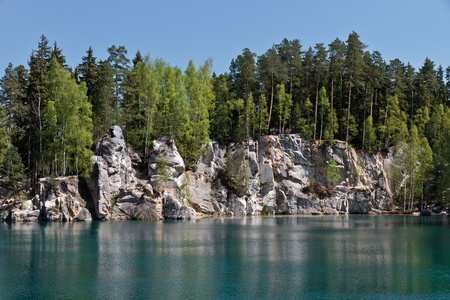 Rock lake with forest in the Czech Republic, Europe Stock Photo