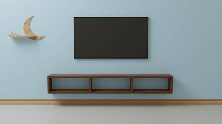 TV in the living room is stuck on the blue wall.3d rendering