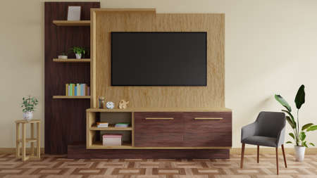 Modern TV room decorated with a TV table and beautiful plants.3d rendering Stock Photo