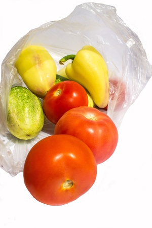 Vegetables Tomato cucumber peper in plastic bag