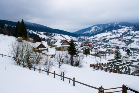 ski resort village in winter Stock Photo