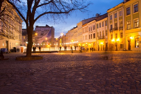 evening ciry view Lviv, Ukraine