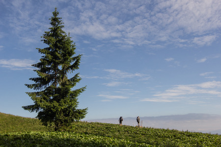 Two tourist hiking in summer mountains Stock Photo
