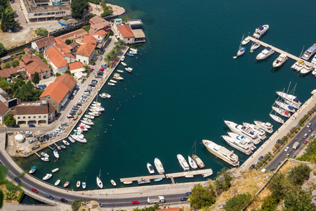 boka: Landscape view on Boka Kotor Bay, old town and mountains  in Montenegro