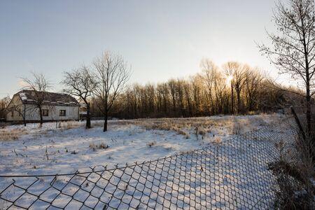 white winter: winter landscape of village in white snow Stock Photo
