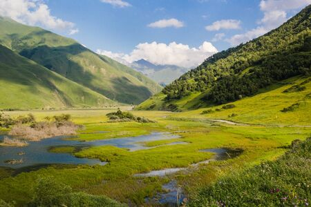 River in green Caucasus mountains summer landscape with blue clody sky background Stock Photo