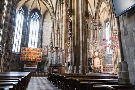 Vienna, Austria - March 23, 2019: Majestic interior of St. Stephen's Cathedral in Vienna, Austria, holy catolic church architecture Editorial