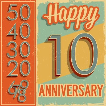 aniversario de bodas: Números de estilo vintage tarjeta de aniversario