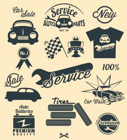 mekanik: Bil ikoner vintage stil Illustration