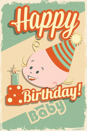 Baby birthday card vintage style Vector