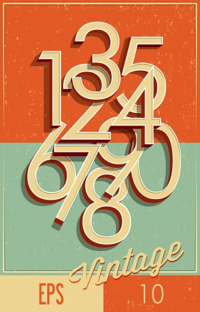 Numbers vintage style Vector