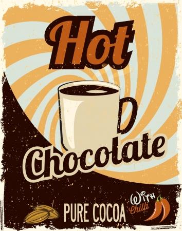 hot announcement: Hot Chocolate retro Illustration