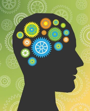 cerebro blanco y negro: pensar cabezal de engranajes vector