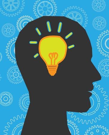 lightbulb idea: testa pensa lampada Vettoriali