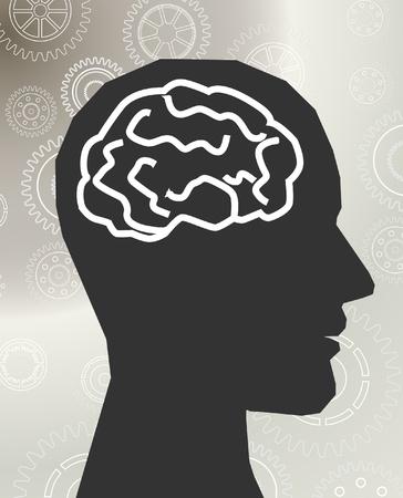 cerebro blanco y negro: vector de cabeza cerebro  Vectores