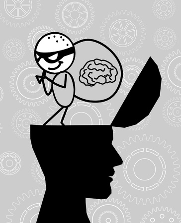 thief take the brain head  Stock Vector - 10808670