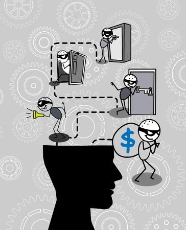 burglar: ladro pensando testa