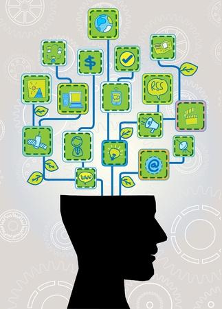 성장: 생태 기술 트리 머리 일러스트