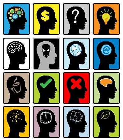 ideas brillantes: la cabeza pensar en vector silueta Vectores