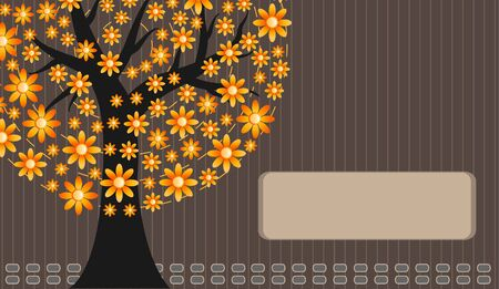 orange flower tree Vector