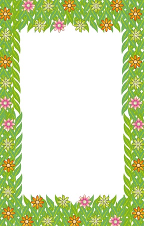 green frame leaf flower  Vector