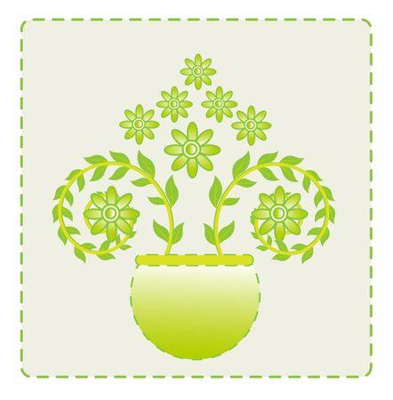 floral decoration: flower leaf green vector baground  Illustration